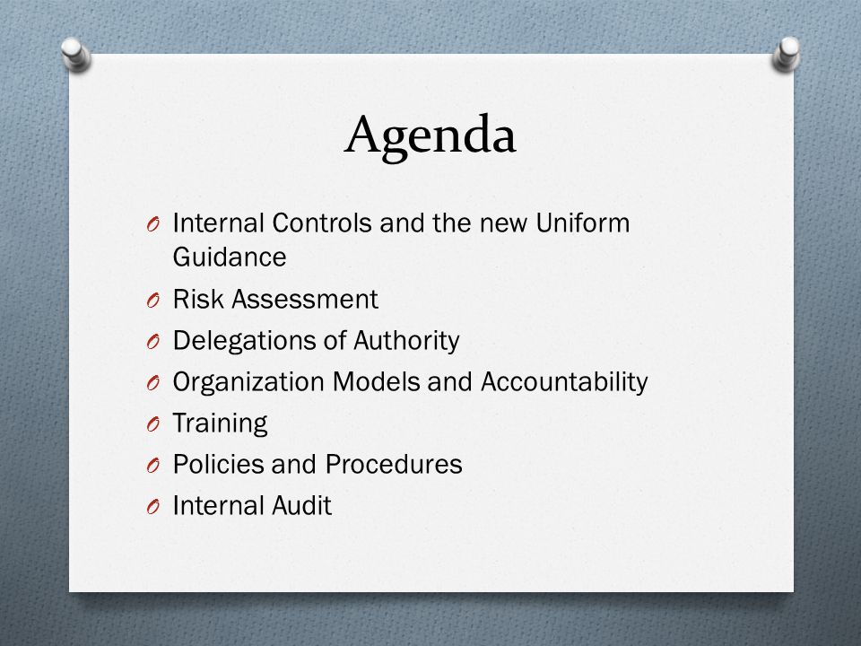 Agenda O Internal Controls and the new Uniform Guidance O Risk Assessment O Delegations of Authority O Organization Models and Accountability O Training O Policies and Procedures O Internal Audit