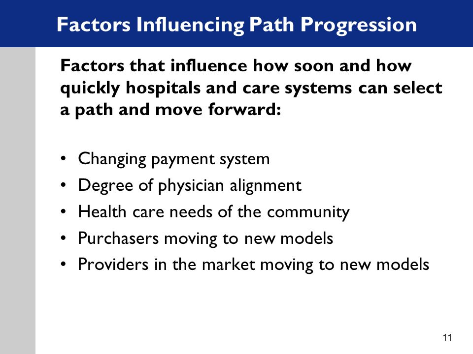 Factors Influencing Path Progression Factors that influence how soon and how quickly hospitals and care systems can select a path and move forward: Changing payment system Degree of physician alignment Health care needs of the community Purchasers moving to new models Providers in the market moving to new models 11