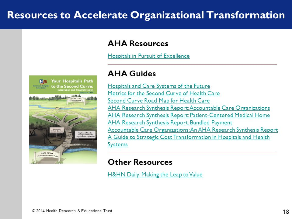 18 © 2014 Health Research & Educational Trust Resources to Accelerate Organizational Transformation AHA Resources Hospitals in Pursuit of Excellence _______________________________________________________________________________________________ AHA Guides Hospitals and Care Systems of the Future Metrics for the Second Curve of Health Care Second Curve Road Map for Health Care AHA Research Synthesis Report: Accountable Care Organizations AHA Research Synthesis Report: Patient-Centered Medical Home AHA Research Synthesis Report: Bundled Payment Accountable Care Organizations: An AHA Research Synthesis Report A Guide to Strategic Cost Transformation in Hospitals and Health Systems _______________________________________________________________________________________________ Other Resources H&HN Daily: Making the Leap to Value