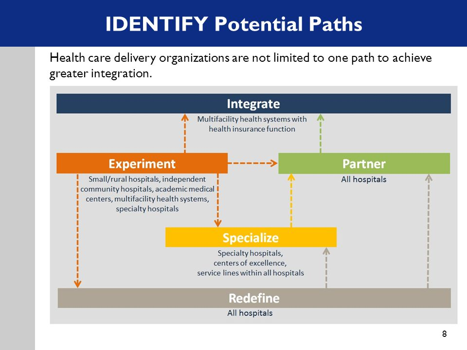 IDENTIFY Potential Paths 8 Health care delivery organizations are not limited to one path to achieve greater integration.