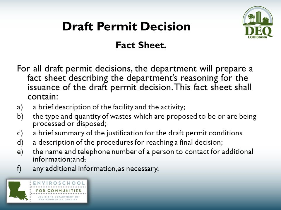 Draft Permit Decision Fact Sheet.
