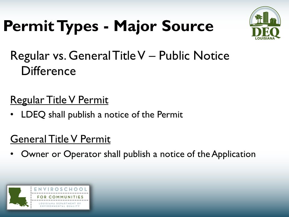 Permit Types - Major Source Regular vs.