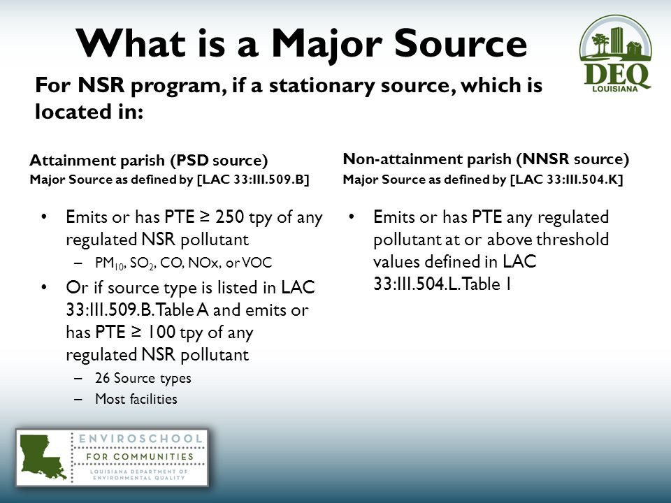 What is a Major Source Attainment parish (PSD source) Major Source as defined by [LAC 33:III.509.B] Emits or has PTE ≥ 250 tpy of any regulated NSR pollutant – PM 10, SO 2, CO, NOx, or VOC Or if source type is listed in LAC 33:III.509.B.Table A and emits or has PTE ≥ 100 tpy of any regulated NSR pollutant – 26 Source types – Most facilities Non-attainment parish (NNSR source) Major Source as defined by [LAC 33:III.504.K] Emits or has PTE any regulated pollutant at or above threshold values defined in LAC 33:III.504.L.Table 1 For NSR program, if a stationary source, which is located in:
