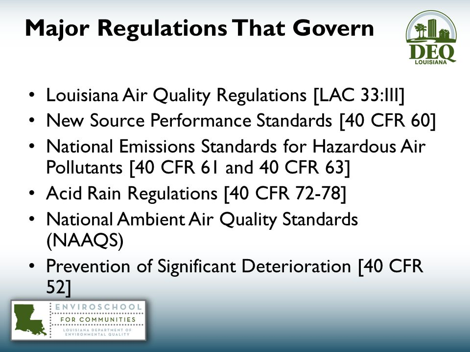 Major Regulations That Govern Louisiana Air Quality Regulations [LAC 33:III] New Source Performance Standards [40 CFR 60] National Emissions Standards for Hazardous Air Pollutants [40 CFR 61 and 40 CFR 63] Acid Rain Regulations [40 CFR 72-78] National Ambient Air Quality Standards (NAAQS) Prevention of Significant Deterioration [40 CFR 52]