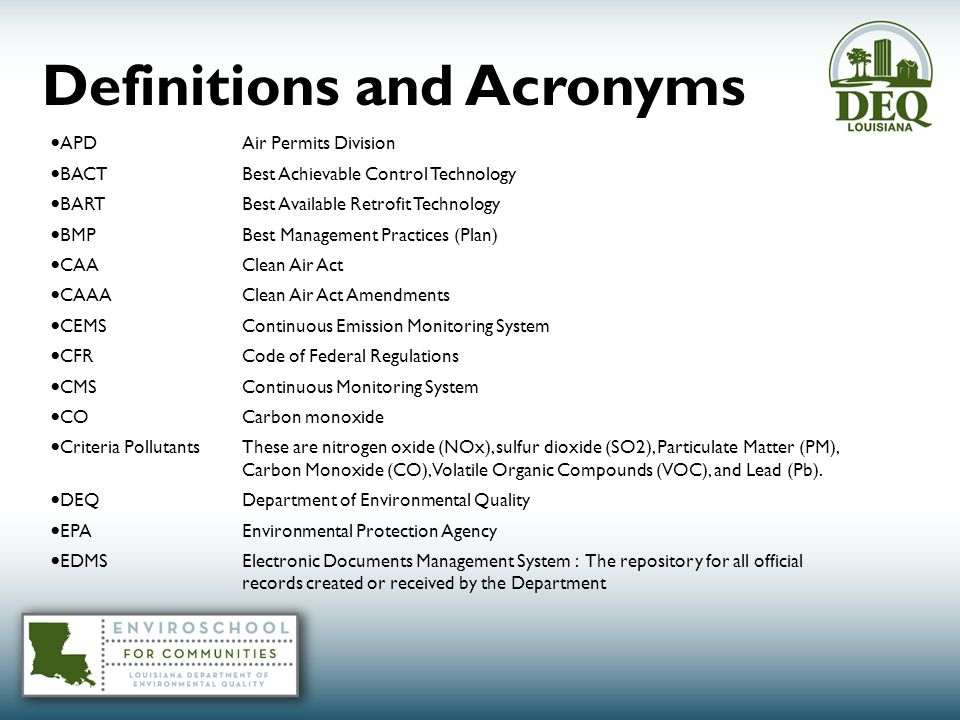 Definitions and Acronyms APDAir Permits Division BACT Best Achievable Control Technology BART Best Available Retrofit Technology BMP Best Management Practices (Plan) CAA Clean Air Act CAAA Clean Air Act Amendments CEMS Continuous Emission Monitoring System CFR Code of Federal Regulations CMS Continuous Monitoring System COCarbon monoxide Criteria PollutantsThese are nitrogen oxide (NOx), sulfur dioxide (SO2), Particulate Matter (PM), Carbon Monoxide (CO), Volatile Organic Compounds (VOC), and Lead (Pb).
