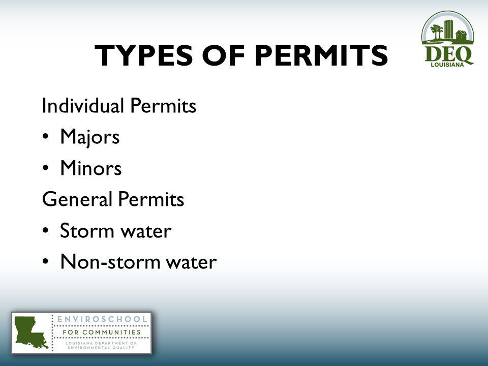 TYPES OF PERMITS Individual Permits Majors Minors General Permits Storm water Non-storm water