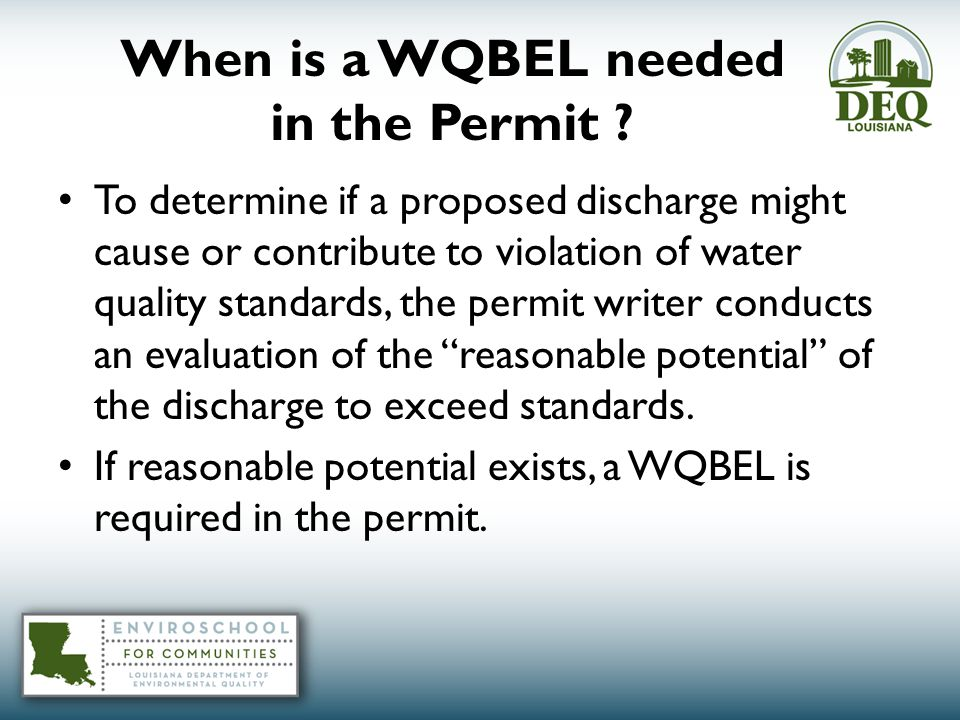 When is a WQBEL needed in the Permit .
