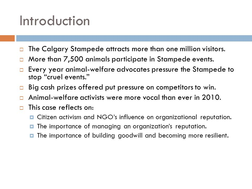 Introduction  The Calgary Stampede attracts more than one million visitors.  More than 7,500 animals participate in Stampede events.  Every year an