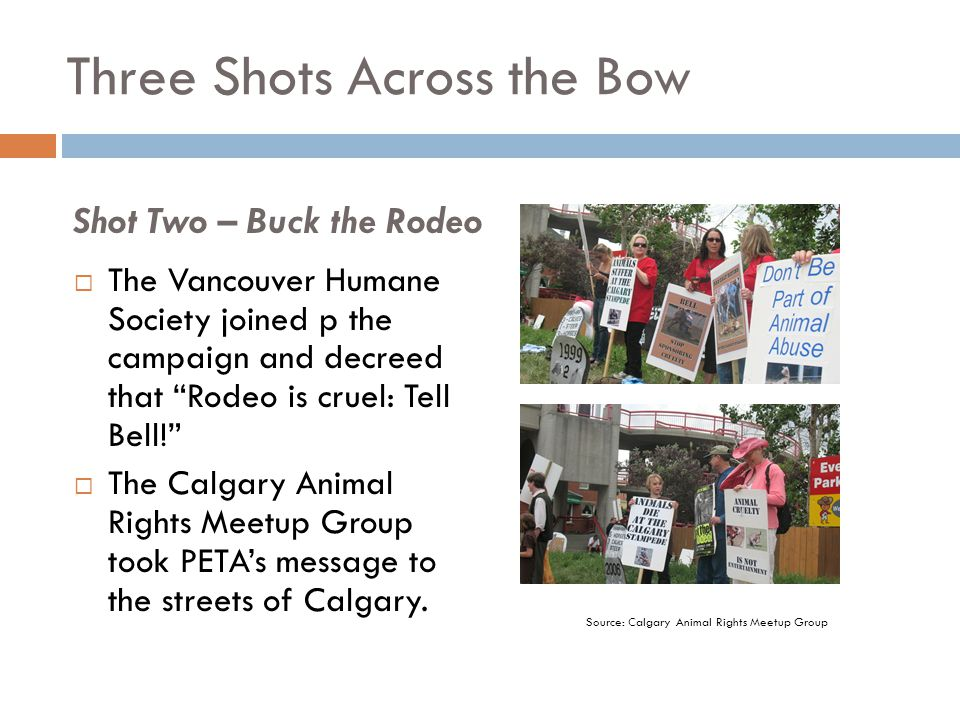 """Three Shots Across the Bow  The Vancouver Humane Society joined p the campaign and decreed that """"Rodeo is cruel: Tell Bell!""""  The Calgary Animal Rig"""