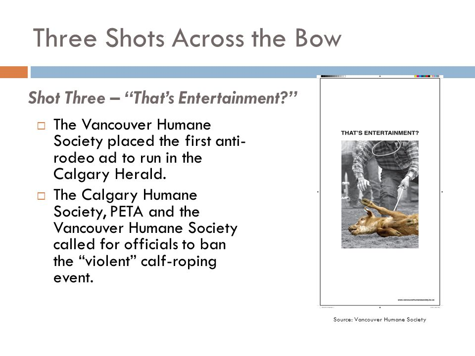 Three Shots Across the Bow  The Vancouver Humane Society placed the first anti- rodeo ad to run in the Calgary Herald.  The Calgary Humane Society,