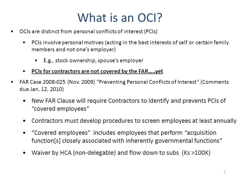 6 Why are OCIs increasing.