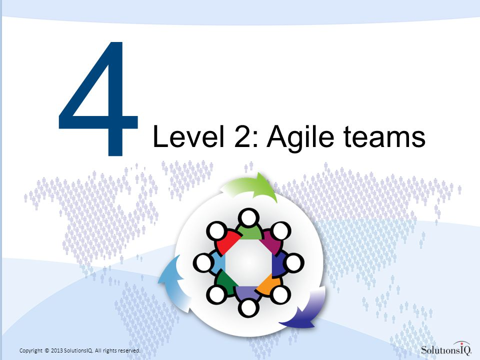 Copyright © 2013 SolutionsIQ. All rights reserved. 4 Level 2: Agile teams