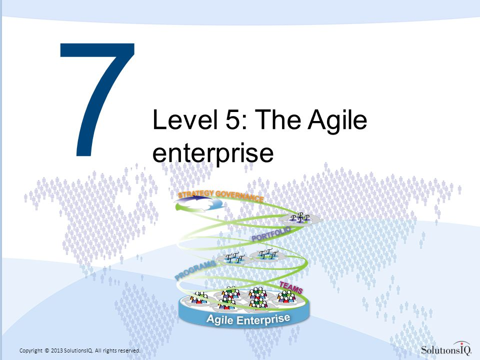 Copyright © 2013 SolutionsIQ. All rights reserved. 7 Level 5: The Agile enterprise