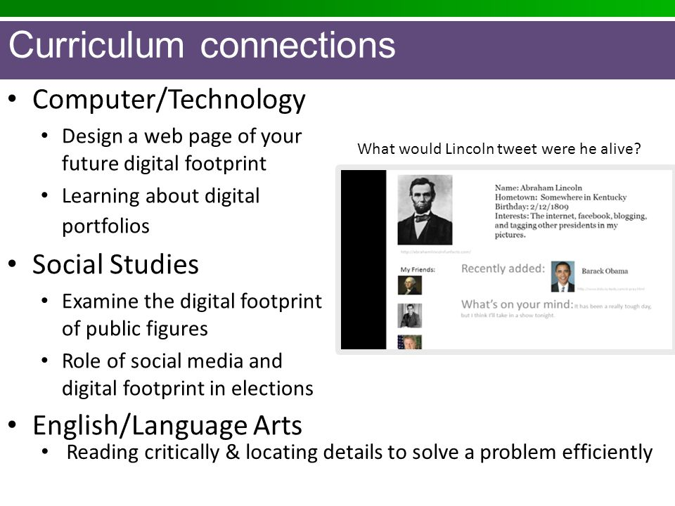 Computer/Technology Design a web page of your future digital footprint Learning about digital portfolios Social Studies Examine the digital footprint