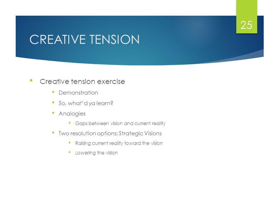 CREATIVE TENSION Creative tension exercise Demonstration So, what'd ya learn.
