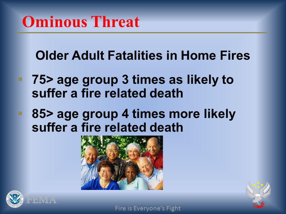 9 Future Residential Fire Risk 80 Million Boomers 310 million = 26%+ Fire is Everyone's Fight