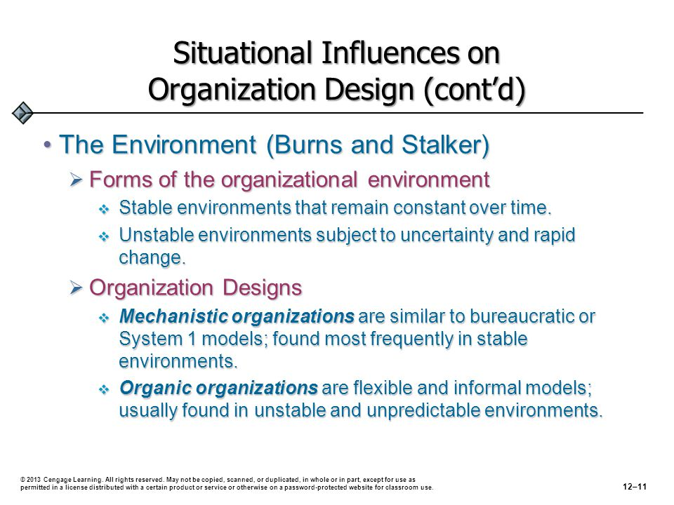 Situational Influences on Organization Design (cont'd) The Environment (Burns and Stalker)The Environment (Burns and Stalker)  Forms of the organizational environment  Stable environments that remain constant over time.