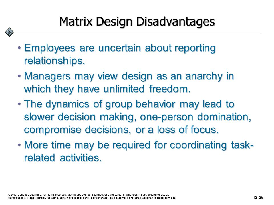 Matrix Design Disadvantages Employees are uncertain about reporting relationships.Employees are uncertain about reporting relationships.