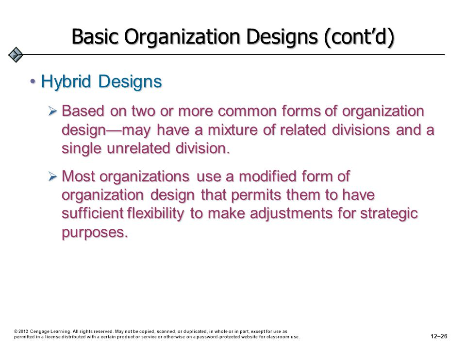 Basic Organization Designs (cont'd) Hybrid DesignsHybrid Designs  Based on two or more common forms of organization design—may have a mixture of related divisions and a single unrelated division.