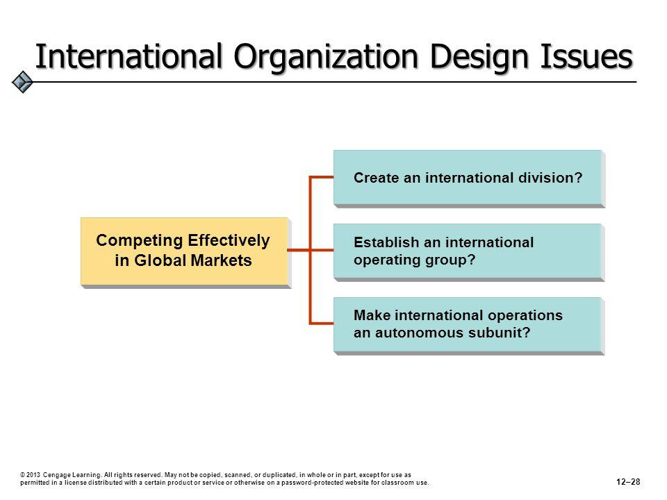 International Organization Design Issues 12–28 © 2013 Cengage Learning.