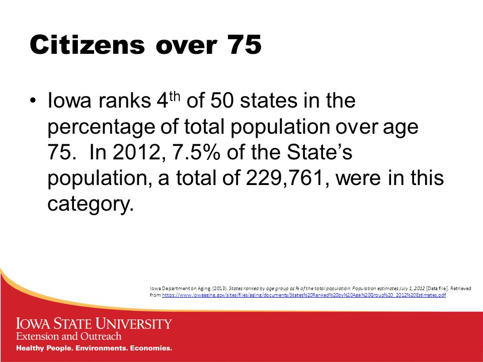 Citizens over 75 Iowa ranks 4 th of 50 states in the percentage of total population over age 75.
