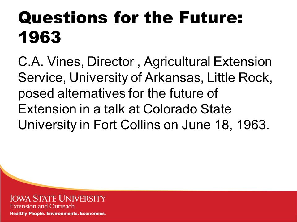 Questions for the Future: 1963 C.A.