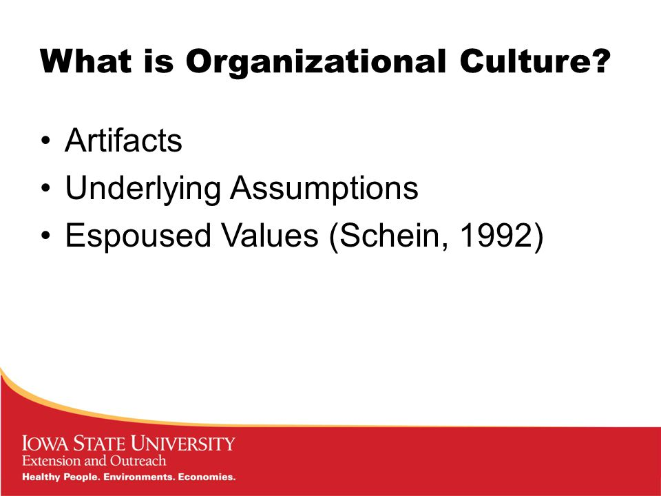 What is Organizational Culture Artifacts Underlying Assumptions Espoused Values (Schein, 1992)