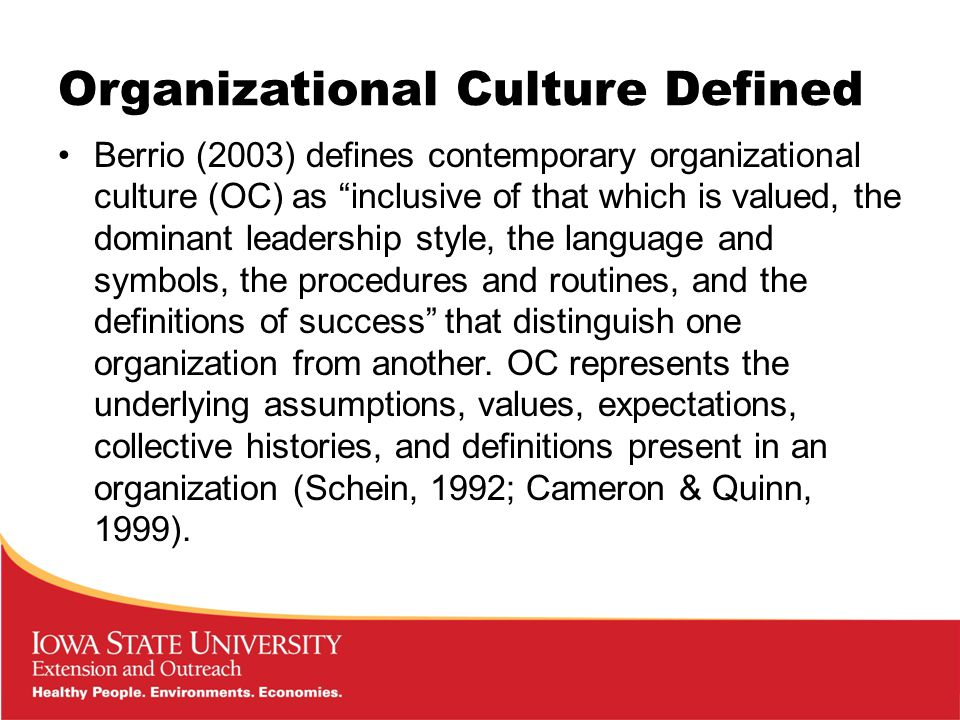 Organizational Culture Defined Berrio (2003) defines contemporary organizational culture (OC) as inclusive of that which is valued, the dominant leadership style, the language and symbols, the procedures and routines, and the definitions of success that distinguish one organization from another.