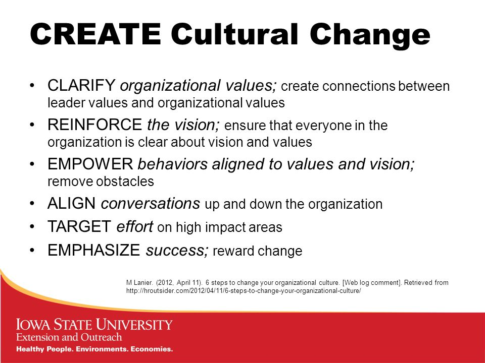CREATE Cultural Change CLARIFY organizational values; create connections between leader values and organizational values REINFORCE the vision; ensure that everyone in the organization is clear about vision and values EMPOWER behaviors aligned to values and vision; remove obstacles ALIGN conversations up and down the organization TARGET effort on high impact areas EMPHASIZE success; reward change M Lanier.