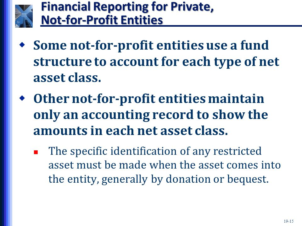 19-15 Financial Reporting for Private, Not-for-Profit Entities  Some not-for-profit entities use a fund structure to account for each type of net ass