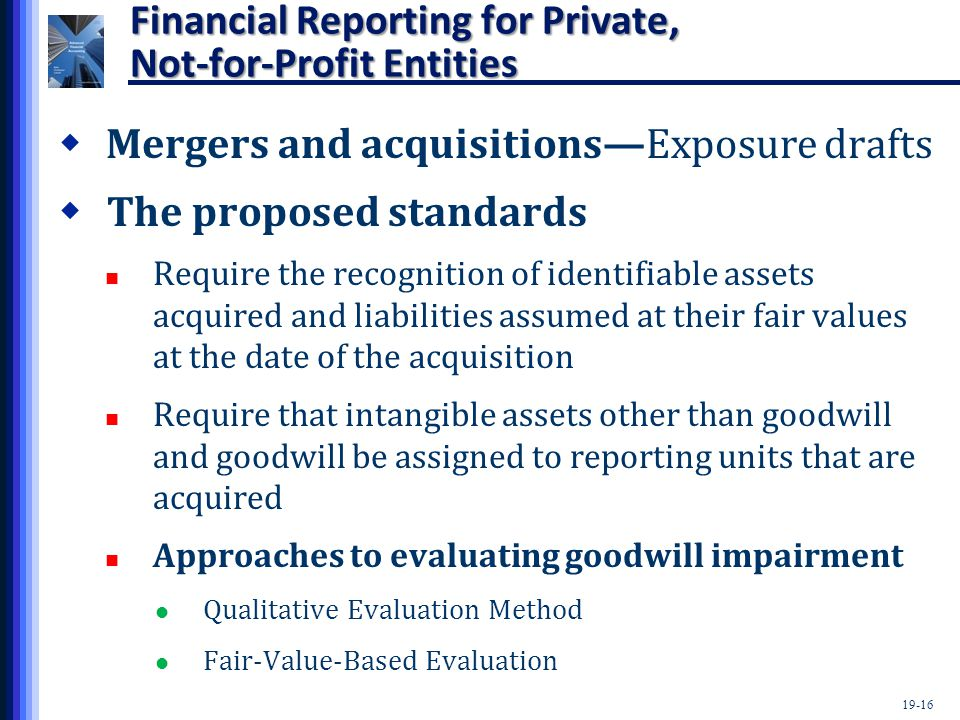 19-16 Financial Reporting for Private, Not-for-Profit Entities  Mergers and acquisitions—Exposure drafts  The proposed standards Require the recognition of identifiable assets acquired and liabilities assumed at their fair values at the date of the acquisition Require that intangible assets other than goodwill and goodwill be assigned to reporting units that are acquired Approaches to evaluating goodwill impairment Qualitative Evaluation Method Fair-Value-Based Evaluation