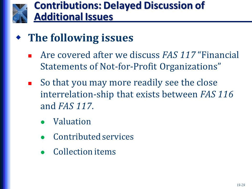 "19-29 Contributions: Delayed Discussion of Additional Issues  The following issues Are covered after we discuss FAS 117 ""Financial Statements of Not-"
