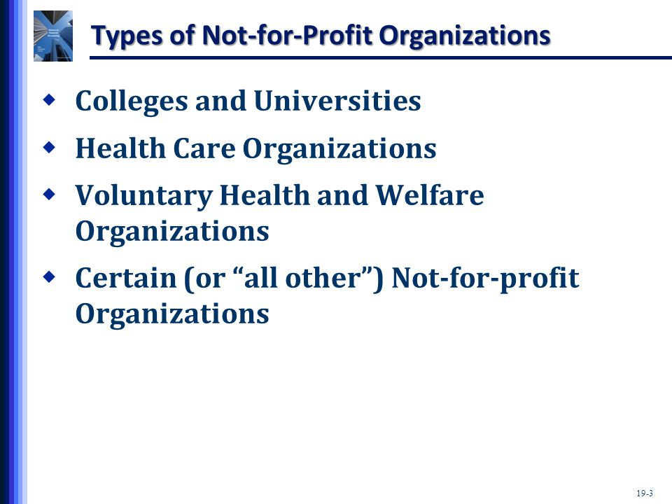 19-3 Types of Not-for-Profit Organizations  Colleges and Universities  Health Care Organizations  Voluntary Health and Welfare Organizations  Certain (or all other ) Not-for-profit Organizations