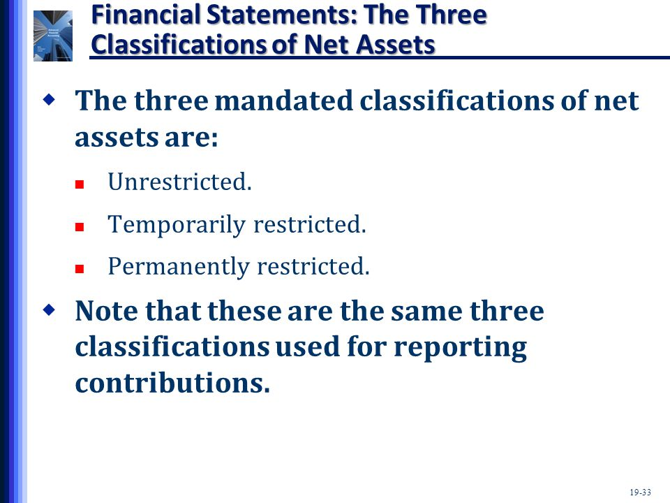 19-33 Financial Statements: The Three Classifications of Net Assets  The three mandated classifications of net assets are: Unrestricted. Temporarily