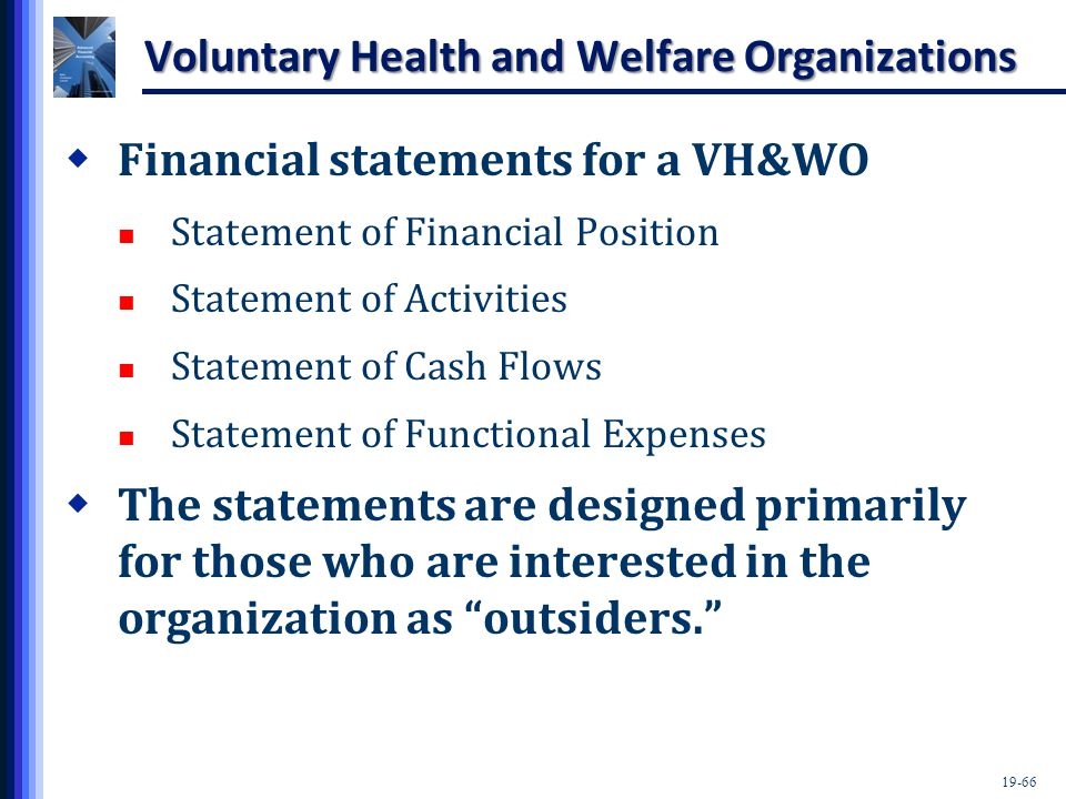 19-66 Voluntary Health and Welfare Organizations  Financial statements for a VH&WO Statement of Financial Position Statement of Activities Statement