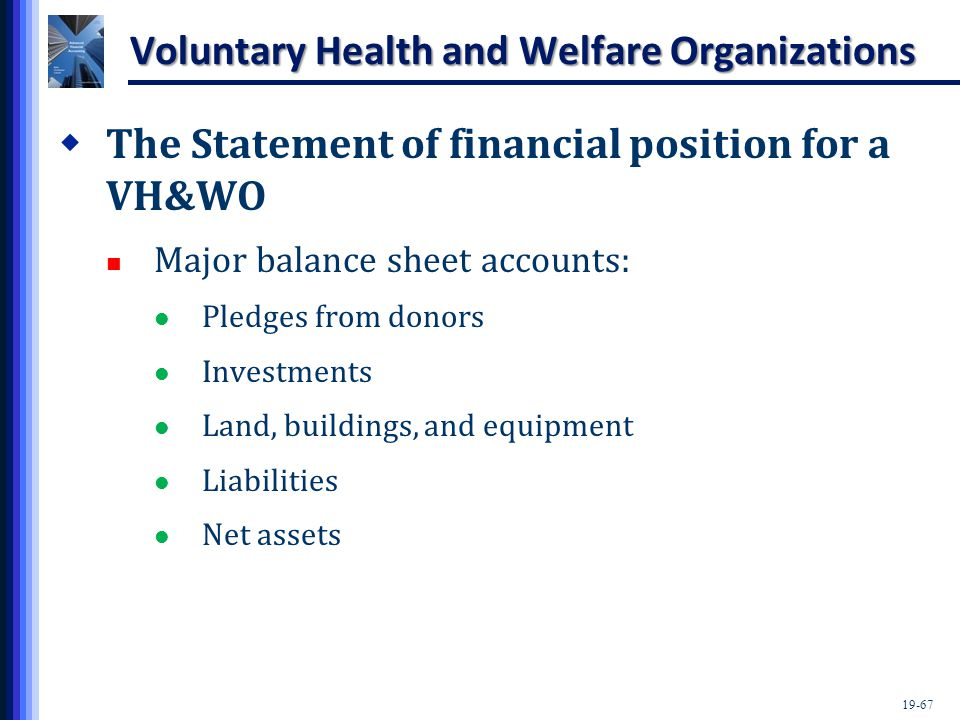 19-67 Voluntary Health and Welfare Organizations  The Statement of financial position for a VH&WO Major balance sheet accounts: Pledges from donors I
