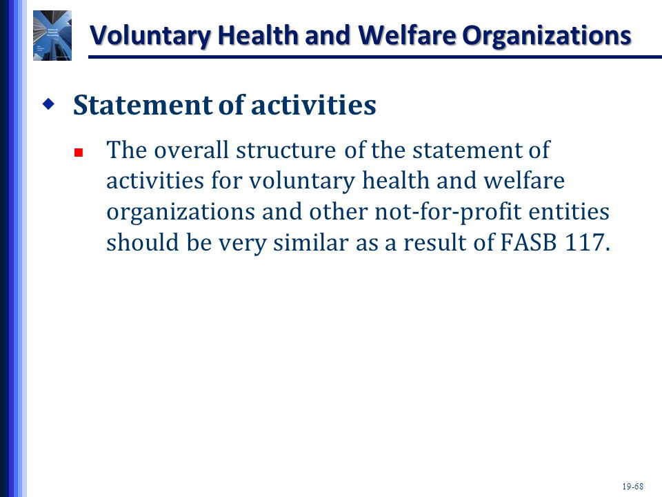 19-68 Voluntary Health and Welfare Organizations  Statement of activities The overall structure of the statement of activities for voluntary health and welfare organizations and other not-for-profit entities should be very similar as a result of FASB 117.