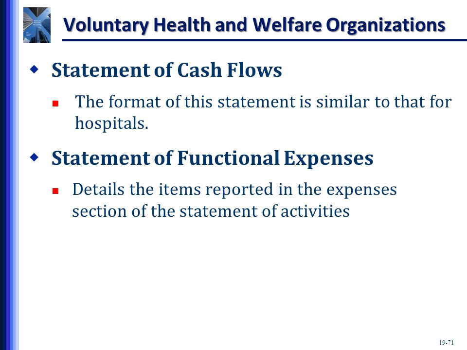 19-71 Voluntary Health and Welfare Organizations  Statement of Cash Flows The format of this statement is similar to that for hospitals.  Statement