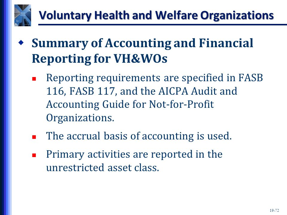 19-72 Voluntary Health and Welfare Organizations  Summary of Accounting and Financial Reporting for VH&WOs Reporting requirements are specified in FASB 116, FASB 117, and the AICPA Audit and Accounting Guide for Not-for-Profit Organizations.