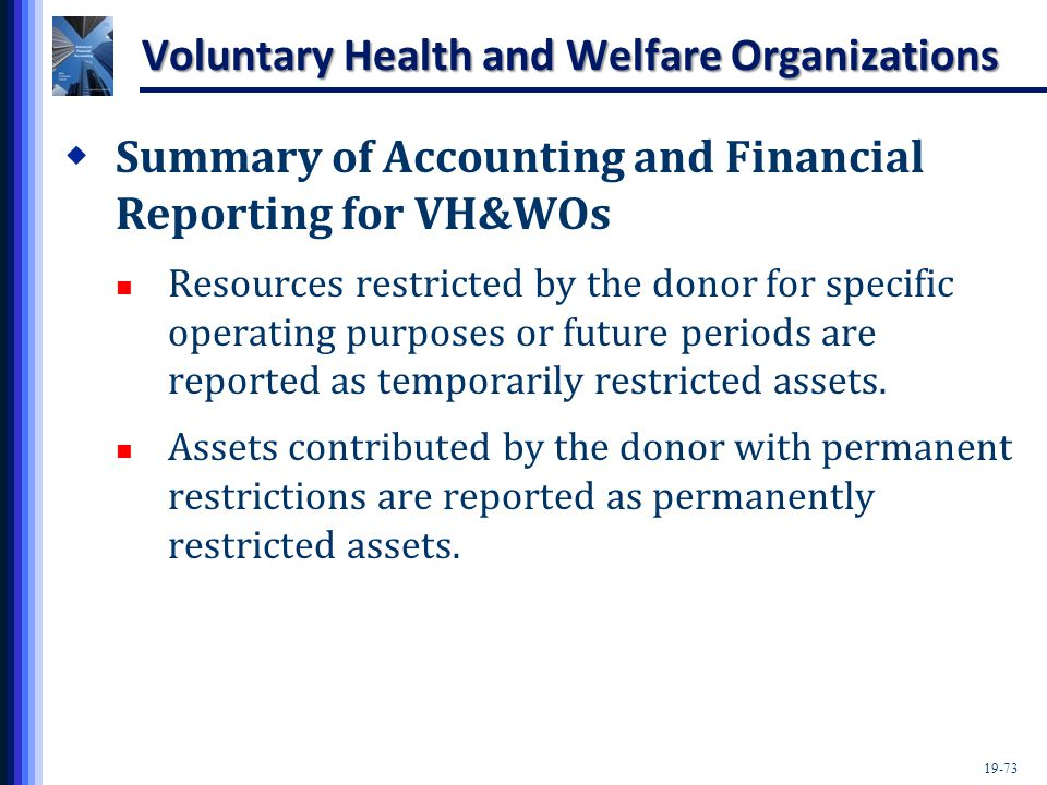 19-73 Voluntary Health and Welfare Organizations  Summary of Accounting and Financial Reporting for VH&WOs Resources restricted by the donor for specific operating purposes or future periods are reported as temporarily restricted assets.