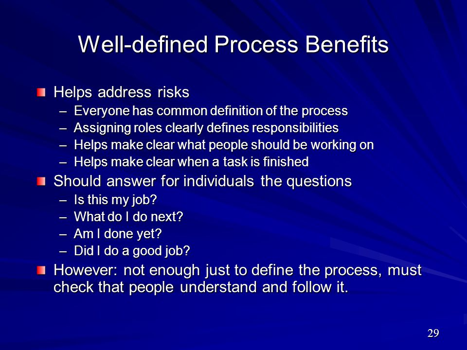 Well-defined Process Benefits Helps address risks –Everyone has common definition of the process –Assigning roles clearly defines responsibilities –He