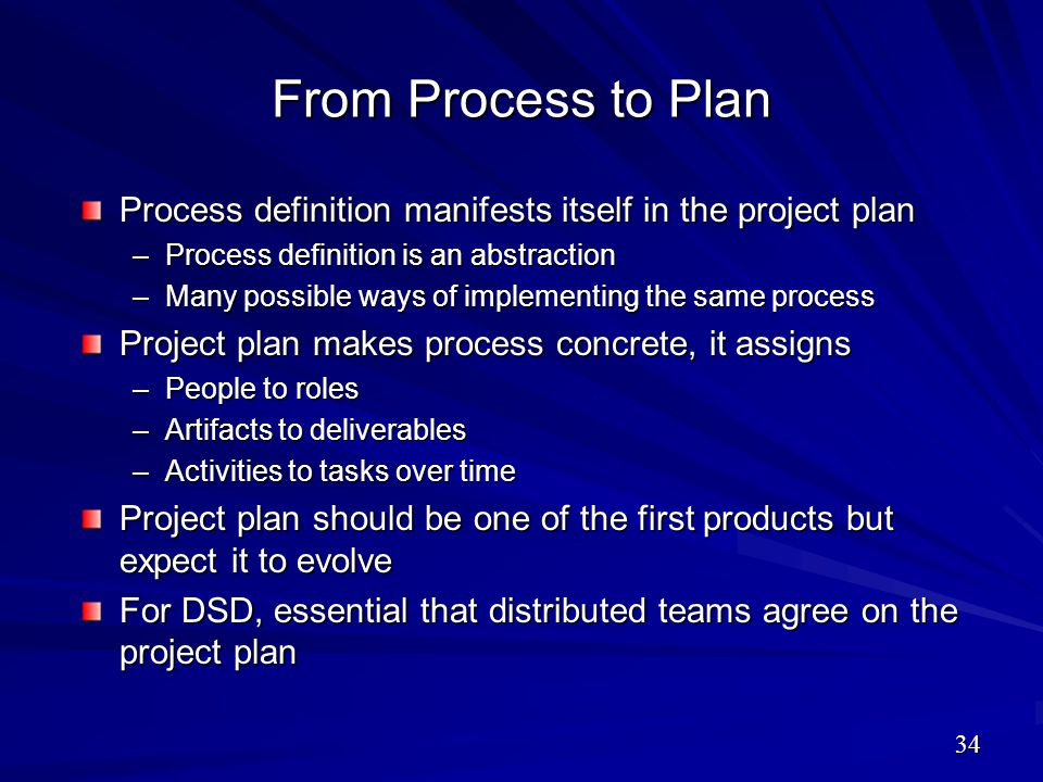 From Process to Plan Process definition manifests itself in the project plan –Process definition is an abstraction –Many possible ways of implementing