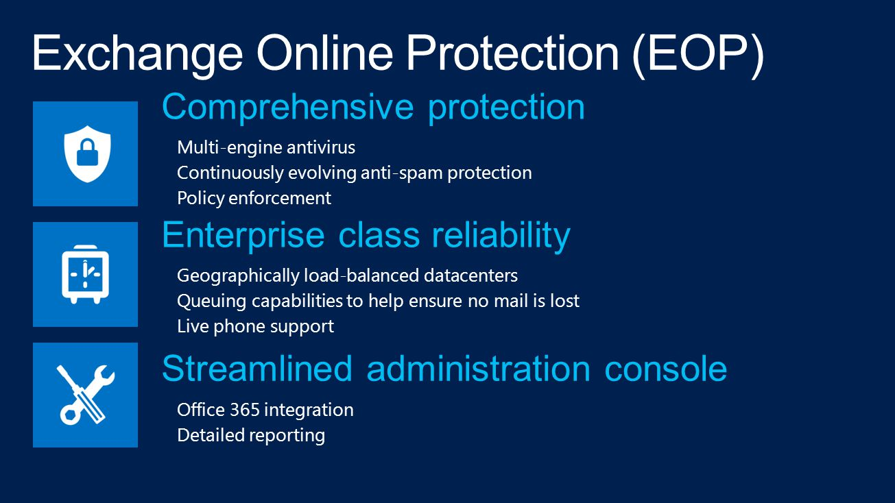 Comprehensive protection Multi-engine antivirus Continuously evolving anti-spam protection Policy enforcement Enterprise class reliability Geographically load-balanced datacenters Queuing capabilities to help ensure no mail is lost Live phone support Streamlined administration console Office 365 integration Detailed reporting