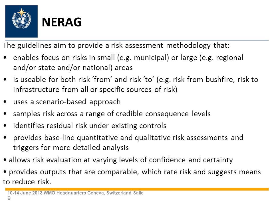 NERAG The guidelines aim to provide a risk assessment methodology that: enables focus on risks in small (e.g.
