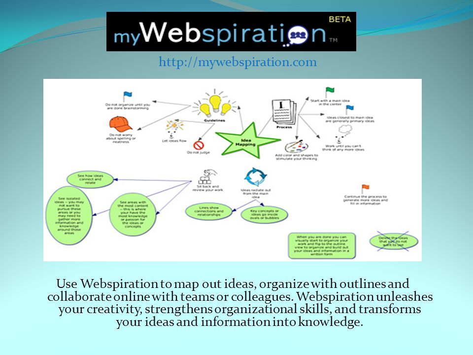 Use Webspiration to map out ideas, organize with outlines and collaborate online with teams or colleagues.