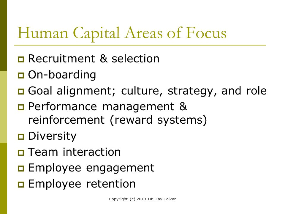 Human Capital Areas of Focus  Recruitment & selection  On-boarding  Goal alignment; culture, strategy, and role  Performance management & reinforc