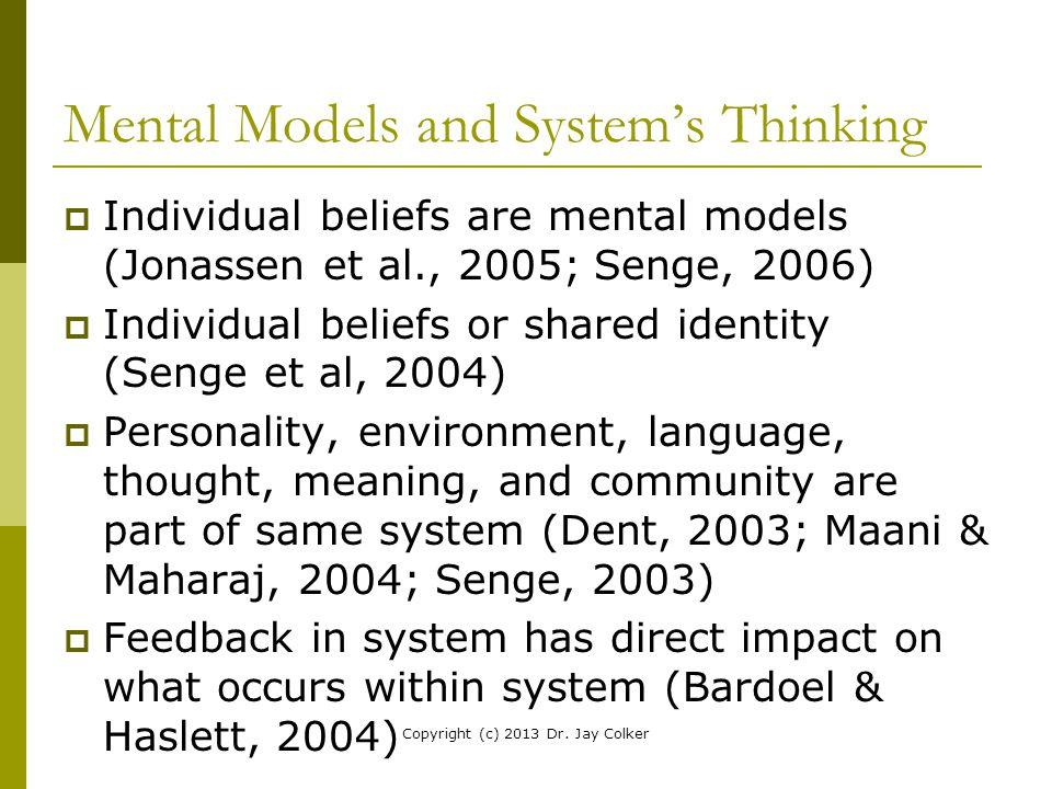Mental Models and System's Thinking  Individual beliefs are mental models (Jonassen et al., 2005; Senge, 2006)  Individual beliefs or shared identit
