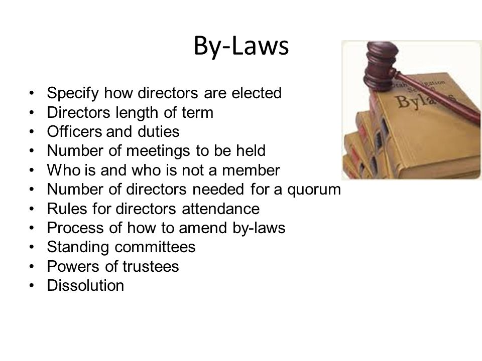 By-Laws Specify how directors are elected Directors length of term Officers and duties Number of meetings to be held Who is and who is not a member Number of directors needed for a quorum Rules for directors attendance Process of how to amend by-laws Standing committees Powers of trustees Dissolution