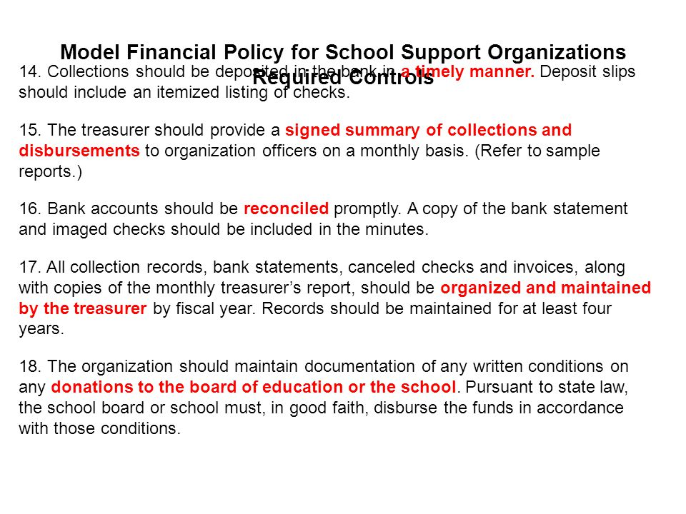 Model Financial Policy for School Support Organizations Required Controls 14.