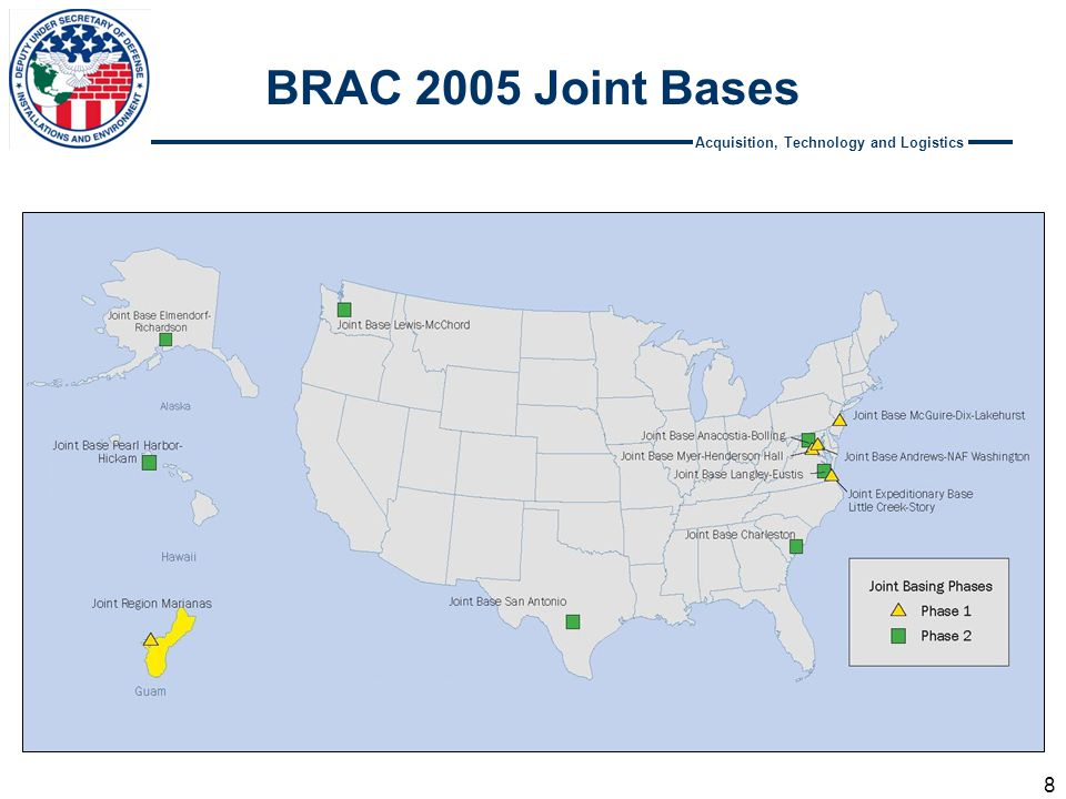 Acquisition, Technology and Logistics BRAC 2005 Joint Bases 8